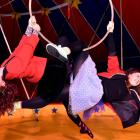 elly Chaproniere (left) and Shona Conacher perform an aerial stunt in the big top at  Circus...