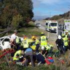 Emergency services tend to the injured in the immediate aftermath of the crash. Photo by Darren Low.