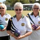 Green Island bowls champions (from left) Gaynor Todd, Lyn Rance and Dianne Jackson at the Green...