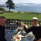 Ian and Gloria Hurst have lunch overlooking the 18th hole at Pebble Beach. Photos supplied.