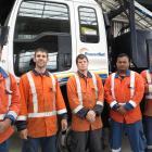 PowerNet line mechanics (from left) Joe Clarke (Invercargill depot), Mark Payne (Gore), Lincoln...