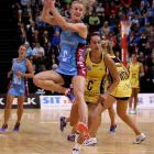 Southern Steel centre Shannon Francois surveys her options during the clash with the Central...