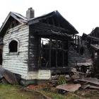 The house in Ettrick St, Invercargill, destroyed by fire on Tuesday evening. Photo by Allison...