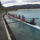 The Otago University Rowing Club crew that won the men's eights at the New Zealand University...