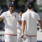 Alastair Cook and Nick Compton celebrate England's win. Photo: Reuters