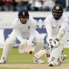 Angelo Mathews plays a reverse sweep against England. Photo: Reuters