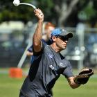 Black Caps strength and conditioning coach Chris Donaldson  gives throw-downs at a practice...