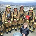 Frans Du Plessis (8), of Omakau, with some of the Alexandra crew competing in the Firefighter Sky...