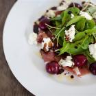 Prosciutto, cherries, goat's curd and vincotto. Photos by Fiona Andersen.