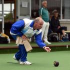 Taieri Bowling Club member Lawrie Watson plays in the 25th Anzac Day bowls tournament at Mosgiel....