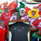 All Blacks supporter Maurie Alderslade (sitting, second from left) with his Cardiff friends (from...