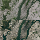 An image of New York from Landsat 7 (top) and an updated image of the same area being rolled out...
