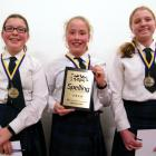 Craighead Diocesan School pupils (from left) Holly Bamber (11), Emma Miron (12) and Pieta...