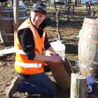 Eventual winner Mike Winter (29), of Amisfield Winery gets to grips with winebox construction...
