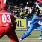 Manish Pandey plays a shot during India's T20 cricket match against Zimbabwe. Photo by Reuters