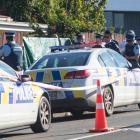 Police at the scene of the shooting. Photo: NZ Herald
