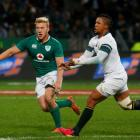 South Africa's Elton Jantjies gets a pass away. Photo Reuters