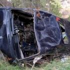The stripped remains of a van near the Lower Manorburn Dam. Photo by Barrie Willis.