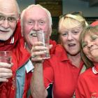 Welsh rugby supporters (from left) Val Griffiths, Roger Griffiths, Phil Williams, Sue Williams,...