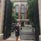 Fairfield School principal Andy Larson outside the gates of Harvard University on his recent...