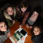 (from left) Queen's High School pupil Gullu Boztas (16), Otago Girls' High School pupil Honor...