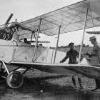 A German aeroplane brought down by our airmen whilst reconnoitring over the Allies' lines. —...