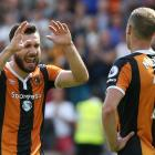 Hull City's Robert Snodgrass and David Meyler celebrate at the end of the game. Photo: Reuters