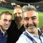 Highlanders back Hayden Parker, assistant coach Tony Brown and part owner Matthew Davey in Sydney...