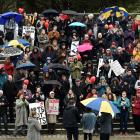 About 400 people attend a protest against proposed cuts to the University of Otago humanities...