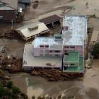 An aerial view shows a damaged home for the elderly caused by a flood triggered by Typhoon...