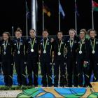 The New Zealand women's sevens team on the podium at Rio. Photo: Getty Images