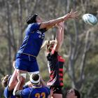 Otago Spirit No8 Angie Sisifa contests the lineout with Canterbury lock Alana Bremner during the...