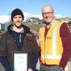 Queenstown apprentice carpenter Scott Fisher (left) and BCITO chief executive Warwick Quinn....