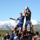 Otago lock Josh Dickson contests possession with Southland opposite Mike McKee at a lineout in...