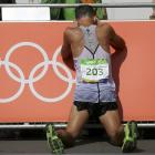 Quentin Rew after finishing the 50km walk. Photo: Reuters