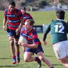 South Otago High School 1st XV hooker Reeve Murdoch makes a break at the South Island Co...