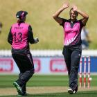Suzie Bates and Rachel Priest celebrate a wicket while playing for New Zealand. Photo: Getty Images