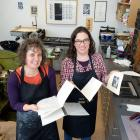 Dunedin artist Lynn Taylor (left) and University of Otago printer in residence Sarah Smith with...