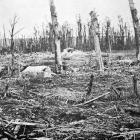First line trenches at Verdun completely levelled by high explosive shells from the German...