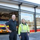 New Zealand Fire Service region 5 property co-ordinator Stephen Hill (left) and Wanaka chief fire...