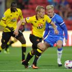 Watford's Matej Vydra in action with Gillingham's Josh Wright. Photo: Reuters