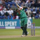 Sarfraz Ahmed plays a shot down the ground for Pakistan. Photo: Reuters