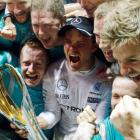 Nico Rosberg celebrates his win after the race. Photo Reuters