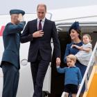 Prince William, Catherine, Duchess of Cambridge, Prince George and Princess Charlotte arrive at...