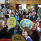 Central Otago educators wave signs in opposition to the Government's ''bulk funding'' proposal,...