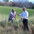 West Otago Community Board members Bruce Robertson (left) and John Herbert measure a possible...