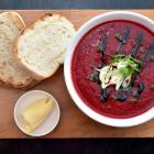 Topiary Cafe's beetroot and tomato soup. Photo by Gregor Richardson.