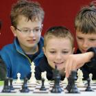 George Street Normal School chess players (from left) Harrison Tonkin (10), Oliver Hobbs (10),...
