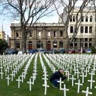 Juliana Barbosa, of Brazil, photographs the crosses placed in the Queens Gardens by the Cenotaph...