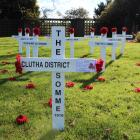 Eleven crosses have been erected outside the Balclutha Memorial Hall to commemorate the 100-year...